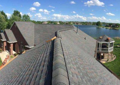 roof peak house lake