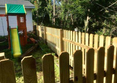 wood fence slide