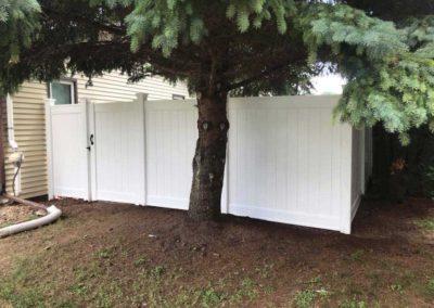 vinyl fence pine tree